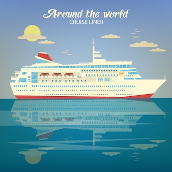 Around the world travel banner with cruise liner