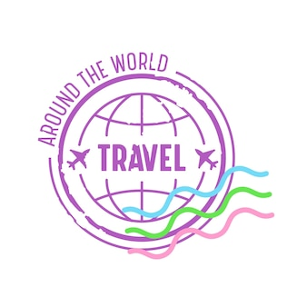 Around the world travel emblem for traveling agency service. icon with earth globe and airplanes isolated on white background. label for mobile phone app, journey banner. cartoon vector illustration