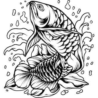 Arowana fish with fowers silhouette