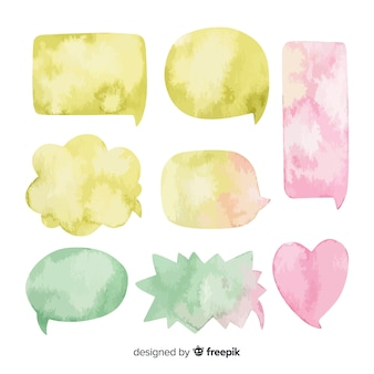 Arranged watercolored speech bubbles collection