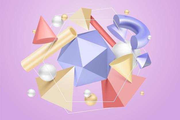 Arrangement of antigravity geometric shapes3d effect