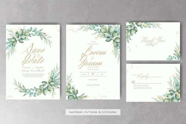 Композиция цветочные свадебные приглашения с зелеными листьями акварели