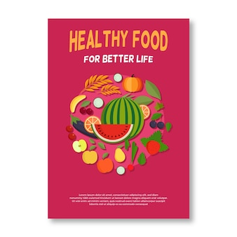 Arrangement of healthy food poster
