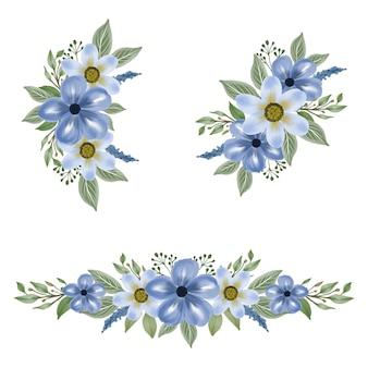 結婚式の招待状のための青い水彩画の花のアレンジメント
