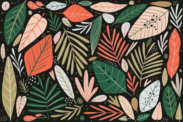 Композиция из разноцветных листьев обоев