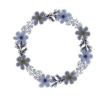 Композиция из серых цветочных акварелей в круговой рамке