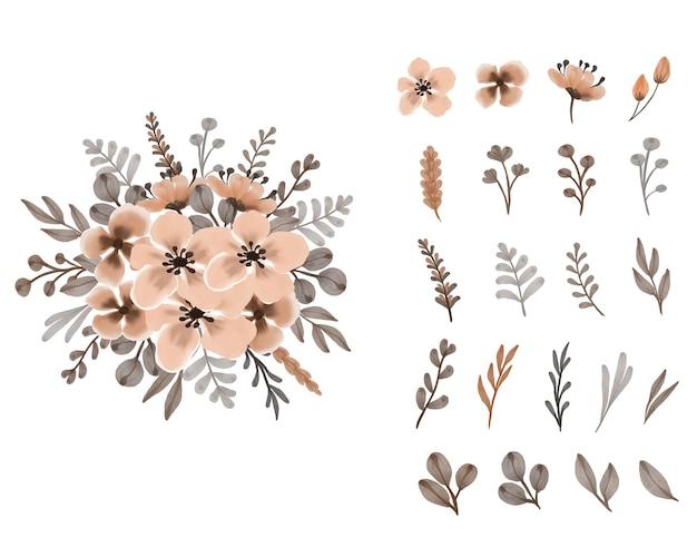薄茶色の花と葉の配置