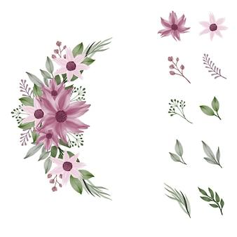 花の要素のつぼみの葉と枝とピンクの水彩花束の配置