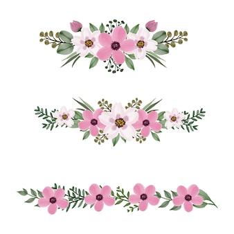 グリーティングとウェディングカードのためのピンクの水彩画の花のアレンジメント