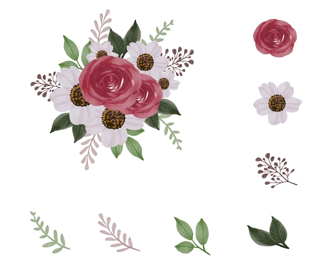 花の要素の葉の枝とつぼみと赤いバラの花束の配置