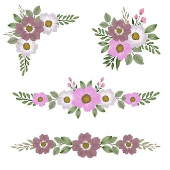 グリーティングとウェディングカードのためのピンクと白の水彩画の花のアレンジメント