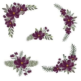 濃い紫色の花柄の水彩画の配置