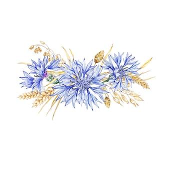Композиция из полевых цветов васильков и засушенных цветов. нежно цветущий василек. василек синий. акварельный фон