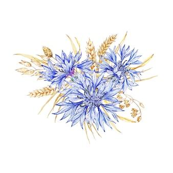 야생화 수레 국화와 말린 꽃의 배열