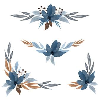 파란색에서 야생화 수채화 프레임의 배열