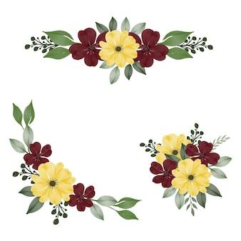 청첩장 노란색과 빨간색 꽃 수채화 프레임의 배열
