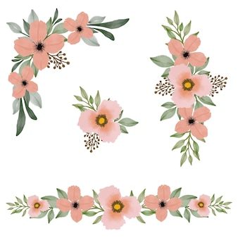 인사말 및 웨딩 카드 배열 복숭아 꽃 수채화