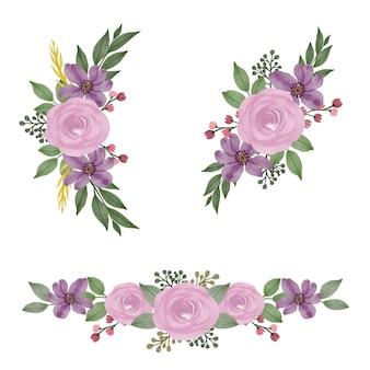 結婚式の招待状のアレンジメントピンクのバラと紫の花の水彩フレーム