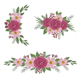 Arrangement of red roses and pink flower watercolor