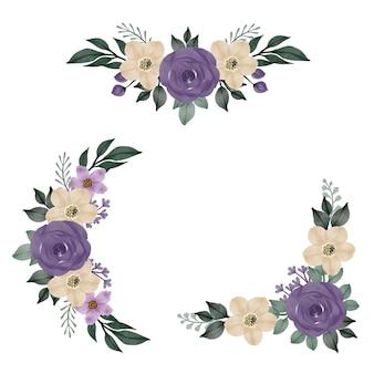 グリーティングとウェディングカードの紫と白のフレームのアレンジメント水彩花束