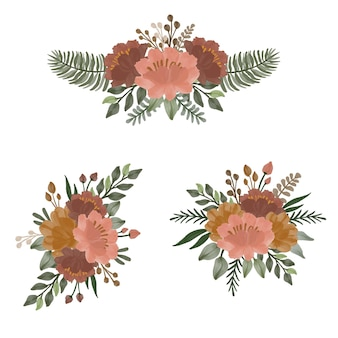 Arrangement of watercolor in brown and orange floral   design