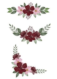 Композиция акварель цветочная рамка темно-бордовый