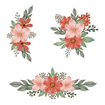 오렌지의 배열 수채화 꽃 프레임