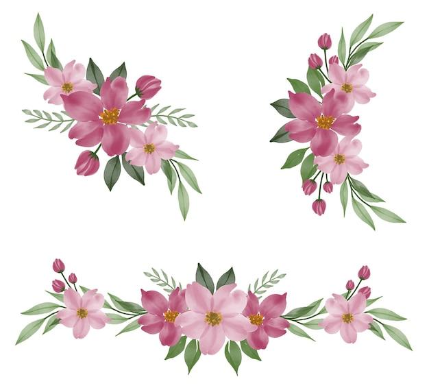 핑크의 배열 수채화 꽃 프레임