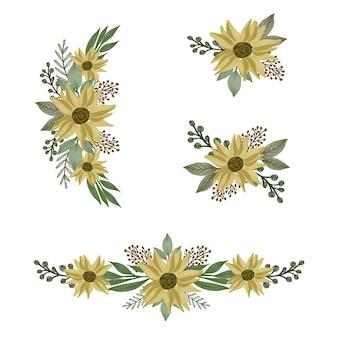 노란색의 배열 수채화 꽃 프레임