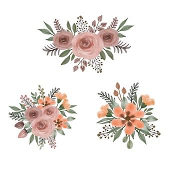배열 수채화 꽃 프레임