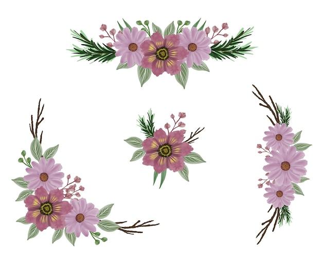 挨拶や結婚式の招待状のためのピンクのアレンジメント水彩花