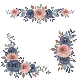Композиция акварель из синих и персиковых роз для поздравления и приглашения на свадьбу