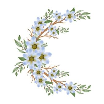 青い花の枝の葉とつぼみのアレンジメント水彩画