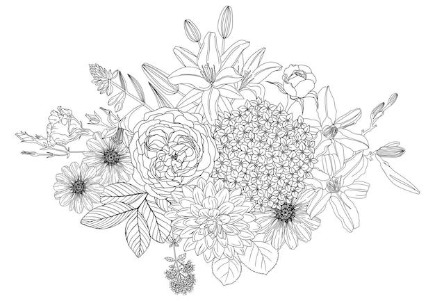 Arrangement with flowers. floral outlines of rose hydrangea dahlia zinnia