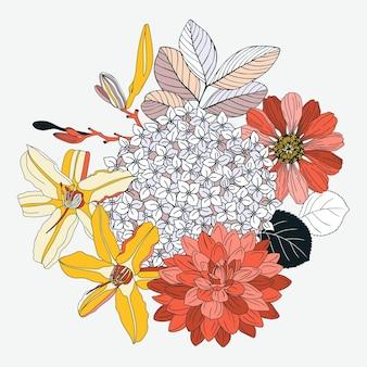 Композиция с летними цветами и листьями