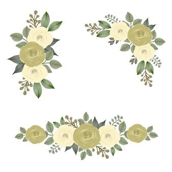 結婚式の招待状のアレンジメント黄色いバラの水彩フレーム