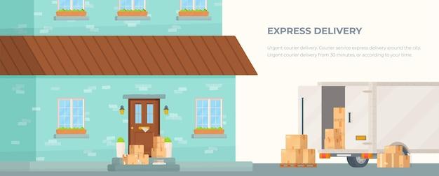 Прибытие посылок на дом. иллюстрация коробок. экспресс-доставка чертежа.