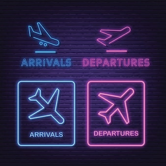 Arrivals and departures collection neon signboard