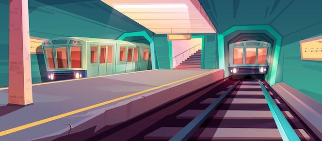 Arriving train to empty subway platform