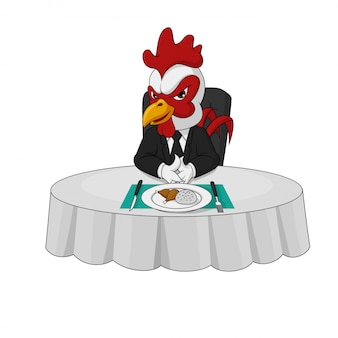 Arrogant rooster boss character eats at the dinner table alone