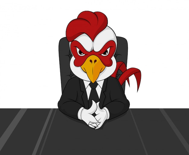 Arrogant rooster boss character facing forward