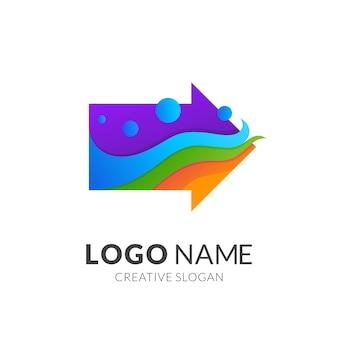 矢印と波のロゴのコンセプト、グラデーションの鮮やかな色のモダンなロゴスタイル