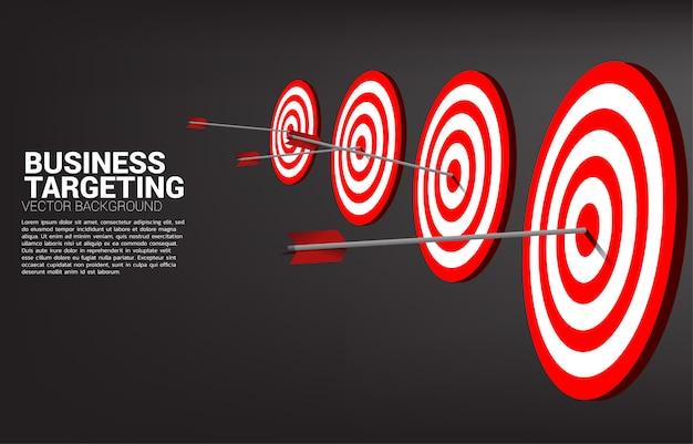 矢のアーチェリーがダーツボードの中央に当たります。マーケティングターゲットと顧客のビジネスコンセプト。企業ビジョンのミッションと目標。