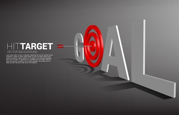 矢のアーチェリーは、目標の言葉遣いでターゲットの中心に当たります。マーケティングターゲットと顧客のビジネスコンセプト。企業ビジョンの使命と目標。
