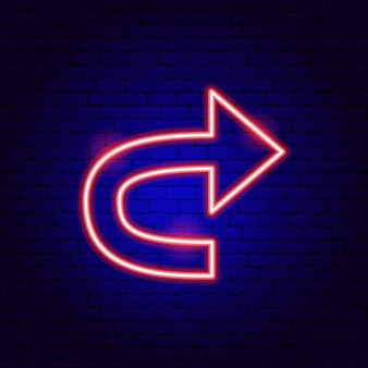 Arrow back neon sign. vector illustration of direction promotion.