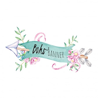 Arrow and banner bohemian watercolor illustration
