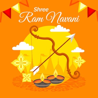 Arrow and bow with candles for ram navami
