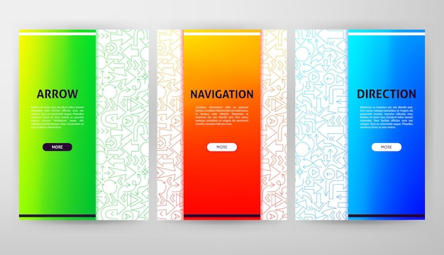 Arrow brochure web design. vector illustration of outline template.