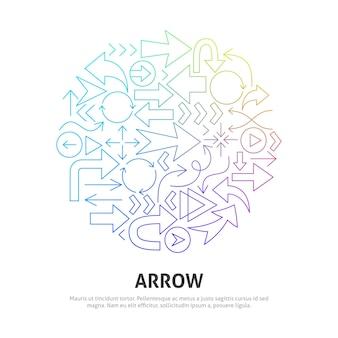 Arrow circle concept. vector illustration of outline design.