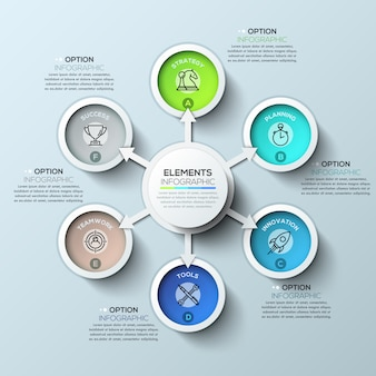 Arrow circle infographics template with six options